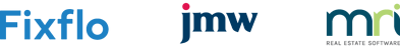 Fixflo, JMW Solicitors and MRI Real Estate Software logos
